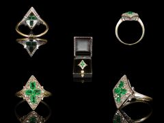 A gorgeous vintage French 18ct yellow Gold Emerald & Diamond Art Deco ring, comprising of 4 beautiful .20ct Emerald Cut Emeralds, claw set in a cross design