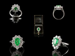 Vintage 18ct W/Gold Emerald & Diamond Cluster Ring