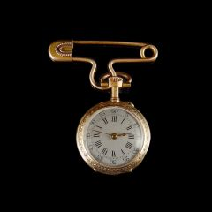 Ladies Antique 14ct Gold & Enamel Fob Watch Front